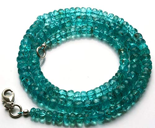 GemAbyss Beads Gemstone 1 Strand Natural 17.5 Inches Super Finest Quality -AAA-Green Emerald Color Apatite Roundel Faceted Beads Necklace 4 to 6.5 MM Code-MVG-21642