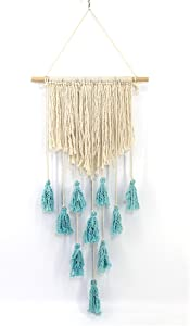 WINOMO Macrame Wall Hanging Tapestry Woven Bohemian Tapestry Geometric Wall Art Decor 90 x 45cm (Beige and Blue)