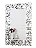 RICHTOP Wall Mirror Large Crystal Jewel Mosaic Framed Rectangle Wall Mounted Mirrors Bevelled Silver Glass Hung for Living Room, Bedroom, Hall, Hallway, Kitchen (60cm x 90cm)
