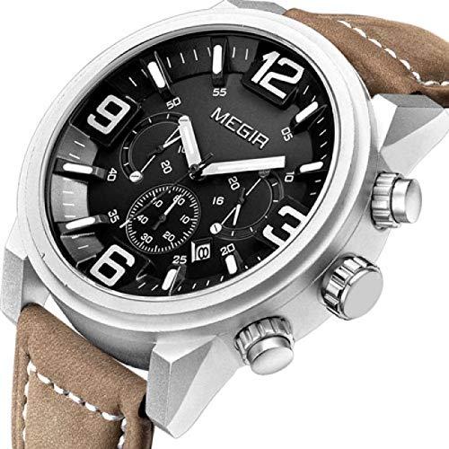 Reloj Megir Hombre Deporte Negra/Pulsera Piel Neuve + Ecrin: Amazon.es: Relojes