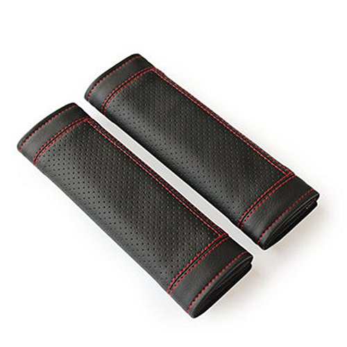 Encell PU Car Seat Belt Cover Shoulder Pad,Black and Red