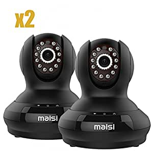 [2015 New Model] 2x Network IP Camera, MAISI Indoor Wireless Day Night Pan/Tilt Baby Monitor / Surveillance Network IP Camera, and MORE (HD 1280x720p Mega-Pixels, Two Way Talk, Built-in Mic & Speaker, QR Code Scan & Connect, iPhone & Android Mobile View, Motion Detection & Push Notification, Black), [Importado de UK]