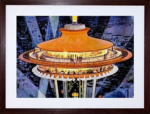 9x7 '' Painting Seattle World FAIR Concept Building USA Framed Art Print F97X682