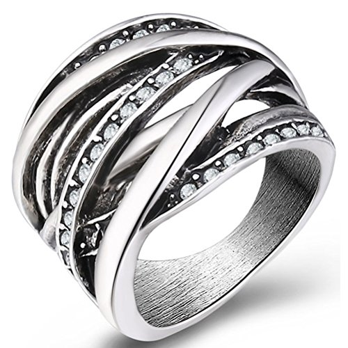 TEMEGO Art Deco Oxidized Silver Intertwined Rings for Women,Large Wide Band Fashion CZ Statement Rings