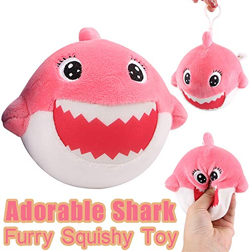 Furry Squishies Adorable Shark Foamed Stuffed Slow Rising Squeeze Keychain Toy ()