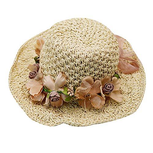 Adela Women Girls Flower Garland Sun Hat Wide Brim Roll-up Crocheted Straw Hat Beach Sun Visor Cap, Beige (Crocheted Hats For Girls)