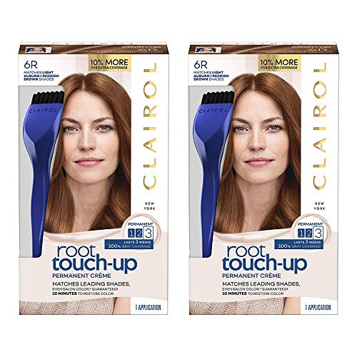 Clairol Root Touch-Up Permanent Hair Color Creme, 6R Light Auburn Brown (Pack of 2)