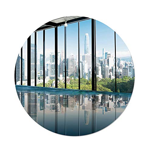 Polyester Round Tablecloth,Modern Decor,Metropolitan Cityscape of New York Usa in Central Park Forest Photo,Sky Blue and Green,Dining Room Kitchen Picnic Table Cloth Cover,for Outdoor Indoor