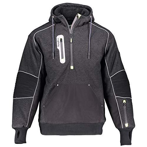 RefrigiWear Men's Extreme Hybrid Pullover Sweatshirt Reflective Insulated Hoodie (Black, 2XL)