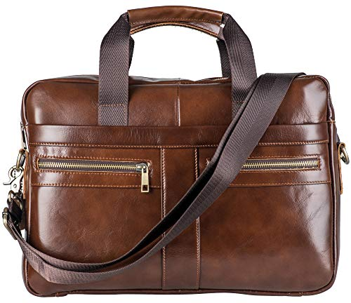 Genuine Leather Briefcase Messenger Bag for Men with Padded Protection Fits 14 Inch Laptop (For 14 In Handbags Briefcase Men)