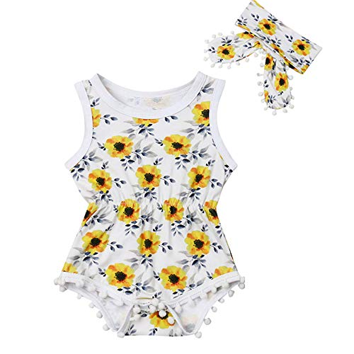 - Newborn Infant Baby Girl Clothes Lace Halter Backless Jumpsuit Romper Bodysuit Sunsuit Outfits Set (Sunflowers Romper with Headband, 18-24 Months)