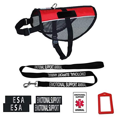 Dogline Emotional Support Dog Vest Set | Adjustable Service Dog Vest Harness | Reflective Emotional Support & ESA Patches w/Emotional Support Leash | Emotional Support Animal ID Card w/Holder