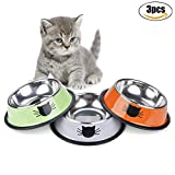 Legendog Cat Bowl - Pet Bowl Stainless Steel Cat Food Water Bowl with Non-Slip Rubber Base Small Pet Bowl Cat Feeding Bowls Set of 3 (Multicolor)