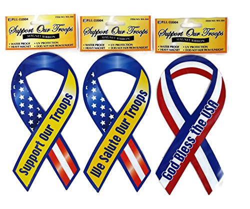 Support & Salute Our Troops God Bless USA Patriotic Military Car Ribbon Magnets Set (12)