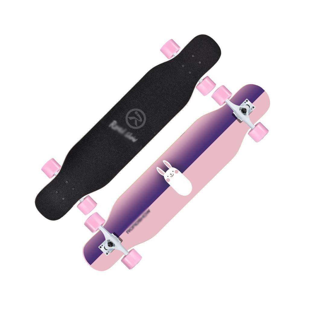 LINGLING-スケートボード ロングボードの標準的なスケートボードの専門のダンスのダンスボードの初心者の大人の青年 ピンク