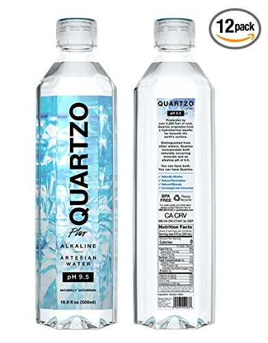 Quartzo Water, pH 9.5 - Naturally Alkaline Bottled Water | No Additives 16.9 fl oz (12-Pack) ()