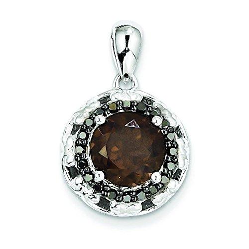 Argent 925/1000-Quartz fumé-Diamant-JewelryWeb Noir
