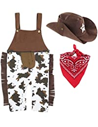 MOMBEBE COSLAND Baby Boys' Cowboy Costume Romper with Hat and Scarf