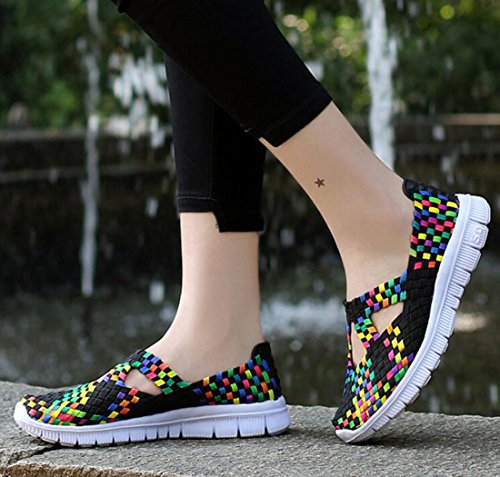 GFONE Ladies Woven Trainers Lightweight Flat Slip On Elastic Sneaker Fitness Walking Casual Sandal Many Jane Shoes Size 2.5-7 Colors Black1 41KYOk