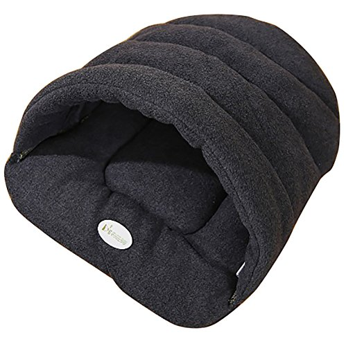 Joycentre Cat Puppy Cozy Sleeping Bag Pet Cave Half Covered Slipper Shape Windproof Pet Beds Snuggle Sack Soft Dog Blanket Mat(S(38×28CM),Grey)
