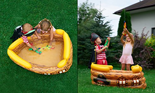 Kenley Inflatable Drinks Cooler - Floating Pirate Ship - Supplies & Decorations for Beach Pool Party, Summer Picnic, BBQ, Luau or Pirate Theme Kids Birthday - Ice Buffet Tray Drink Holder Serving Bar by Kenley (Image #2)