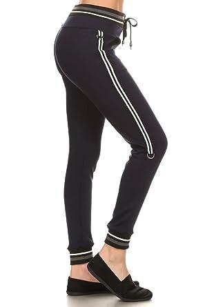 1d7b575504 Leggings Depot Women's Team 3-Stripes Activewear Jogger Comfortable Cuff  Sweatpants Inner Pockets (Large/XL, Navy) at Amazon Women's Clothing store:
