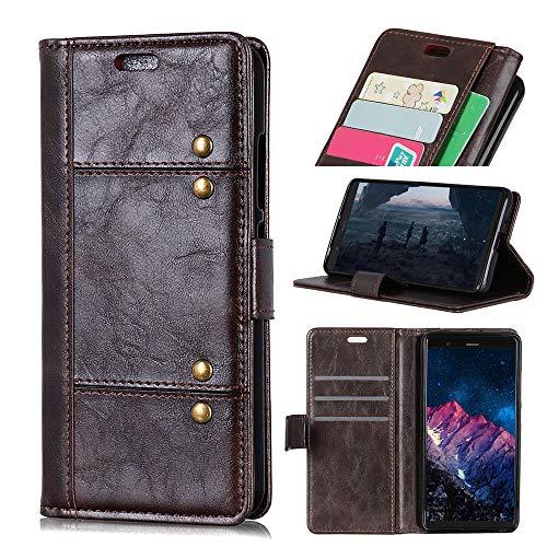Scheam Motorola Moto E5 Plus Leather Wallet Case with Leather Covers, Motorola Moto E5 Plus Flip Cover, Leather Covers, Man Case (Dark Brown) ()