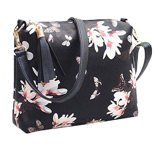Sacchetto di raccoglitore sveglio della borsa della borsa della borsa della cinghia della spalla della nappa della borsa del corpo della traversa di Yocome della novità per le donne Girls, Black