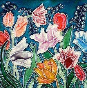 Tulips Decorative Ceramic Wall Art Tile 8x8