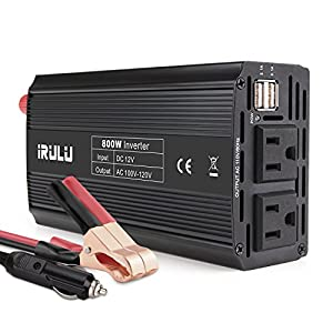 iRULU 800W Microprocessor Power Inverter DC 12V to 110V AC Car Inverter with 4.2A Dual USB Car Adapter for Computer, Laptop, Projector and Game Console - Black