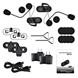 Docooler 2 Sets TCOM-SC Helmet Bluetooth Intercom Kit Hands-free Interphone FM Radio Waterproof Headset Intercom Distance Black for Smart Phones Bluetooth-enable Devices US Plug