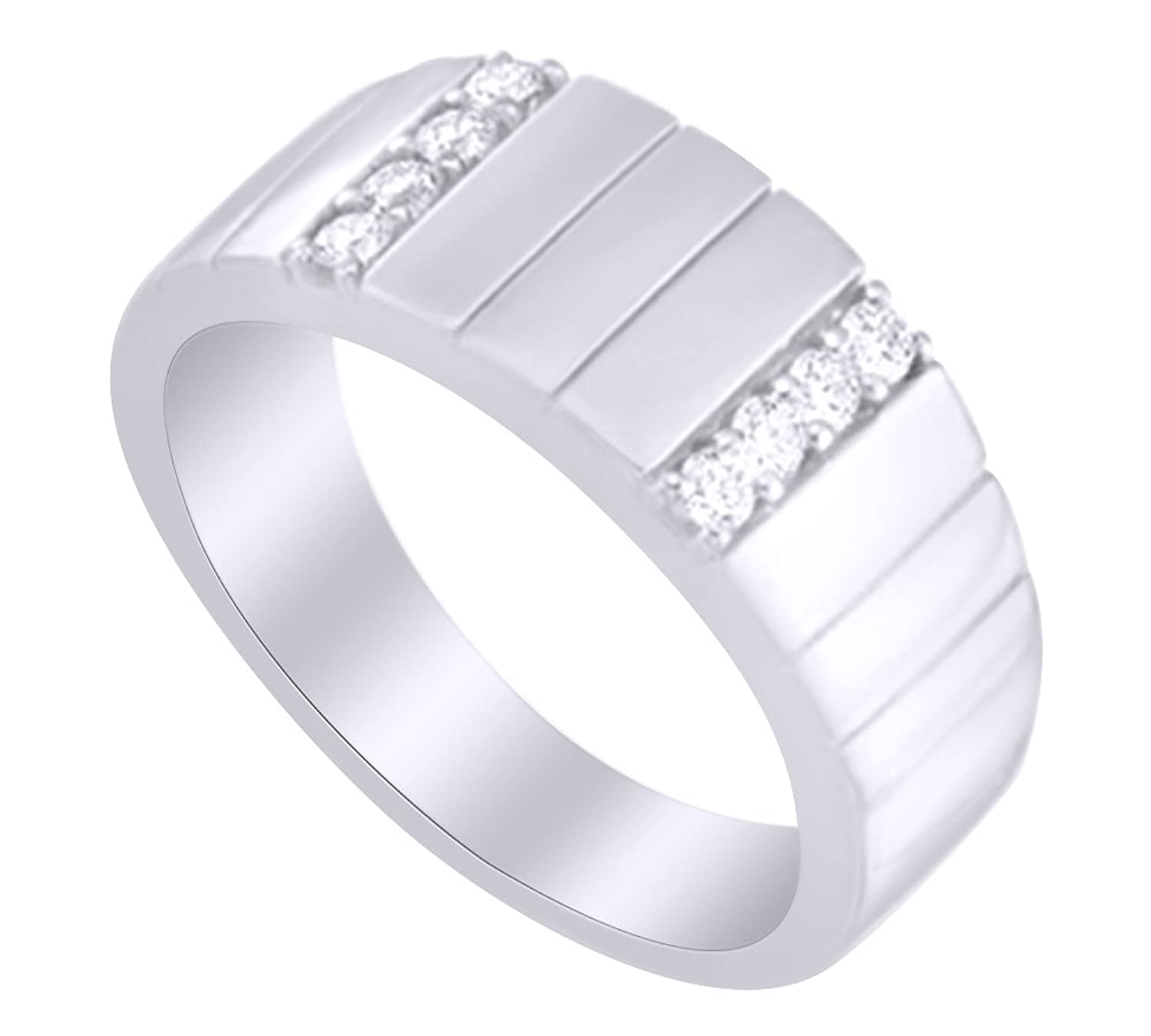 AFFY 0.33 Ct White Natural Diamond Band Ring in 14k Solid Gold