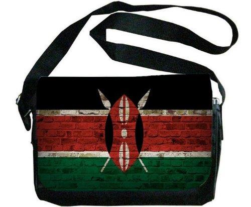 ケニア国旗レンガ壁デザインメッセンジャーバッグ   B00F1YDIUO