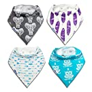 Baby Bandana Drool Bibs for Boys and Girls 4 Pack with BOUNS BAG by Shuby Dooby