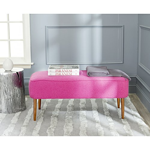 Safavieh Mercer Collection Levi Berry Pink Mid Century Bench