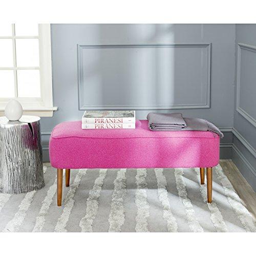 Safavieh Mercer Collection Levi Berry Pink Mid-Century Bench (Inspired Furniture Danish)