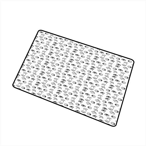 Household Decorative Floor mat,Black and White Umbrellas Seen from Different Angles with Checkered Canopies 32