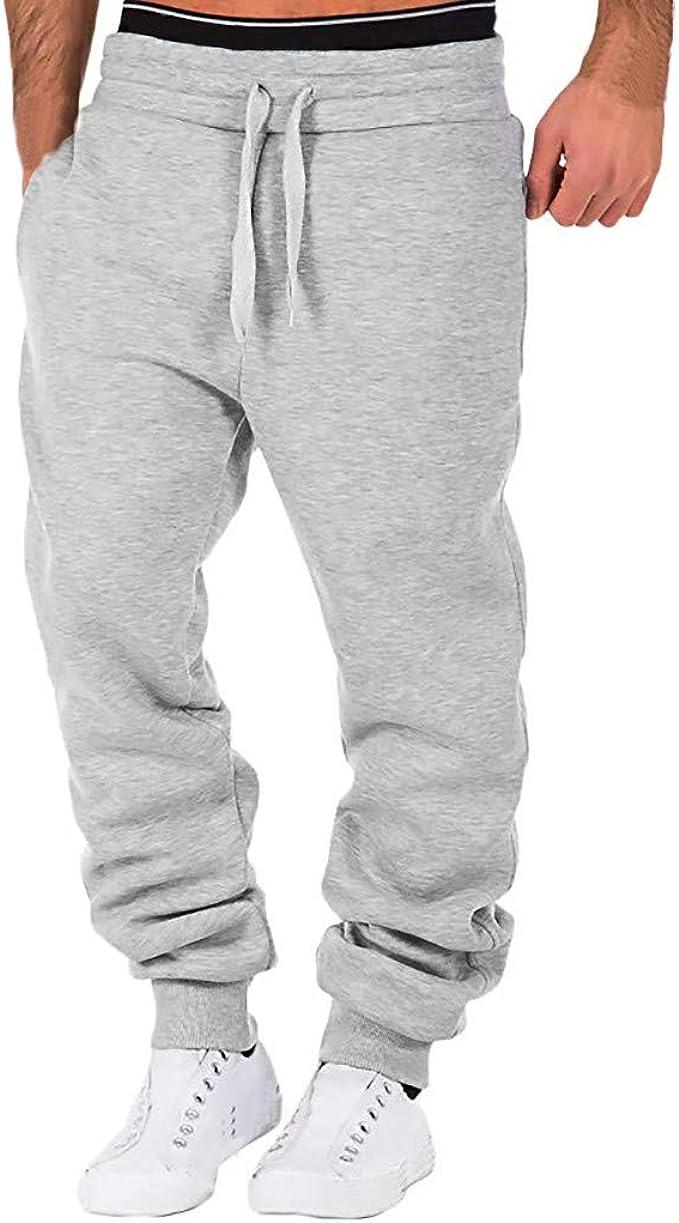 KUHHONG Pantaloni Sportivi Uomo da Jogging con Coulisse Tasche Laterali Pantalone Tuta Fitness Pants da Corso Sport Jogger Uomo Casuali Palestra Pantaloni di Tuta Slim Fit Chino Pantaloni Felpati