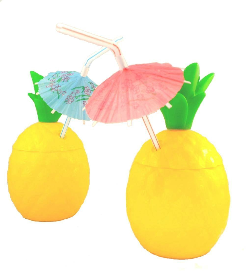 14oz Pineapple Plastic Party Cups 12 Pk (Includes 12 Umbrella Luau Straws) Hawaiian Theme Party Supplies