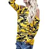 Women Sexy Off Shoulder Long Sleeve Shirt Camouflage Sweatshirt Casual Loose Top(Yellow,Large)
