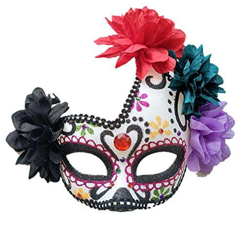 Women's Masquerade Mask Mexican Day of The Dead Sugar Skull Eyemask Masque Fancy Dress (Purple/White/Black)