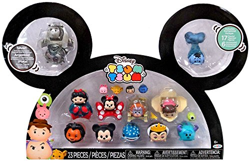 Disney Tsum Tsum Buzz, Woody, Snow White, Minnie, King Louie, Boo, Scar, Mickey, Destiny, Maleficent, Sully & Eeyore 1-Inch Minifigure 17-Pack