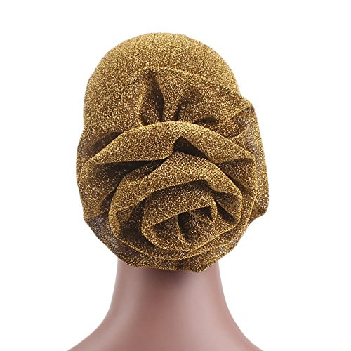 preliked Fashion Big Flower Glitter Turban Hat Muslim Indian Cap Women Head Wrap Headwear (Golden) - Glitter Turban Hat