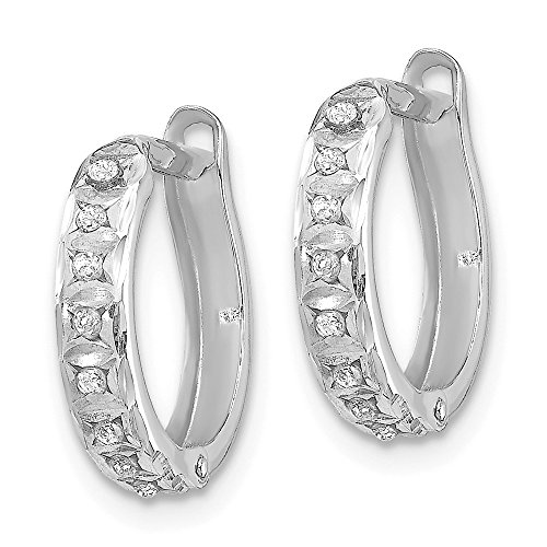 14k White Gold Diamond Fascination Round Hinged Huggie Hoop Earrings .01 cttw. 13mm x 2mm