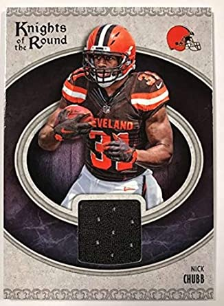 2018 Panini Knights of the Round Rookie Memorabilia Football Card  8 Nick  Chubb Jersey  e4b8a8ac6