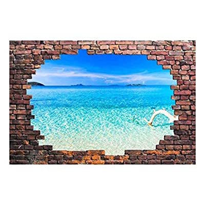 Quality Creation, Beautiful Visual, Large Wall Mural Tropical Seascape Viewed Through a Broken Brick Wall 3D Visual Effect Vinyl Wallpaper Removable Decorating