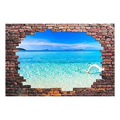 Wall26 - Large Wall Mural - Tropical Seascape Viewed Through a Broken Brick Wall | 3D Visual Effect Self-Adhesive Vinyl Wallpaper/Removable Modern Decorating Wall Art - 66