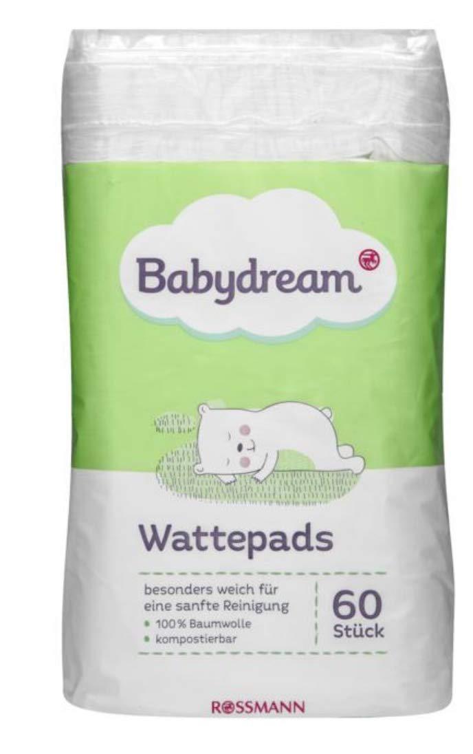 2er Pack 100/% Baumwolle Babydream Wattepads 2 x 60 st