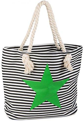 styleBREAKER bolso de playa en óptica de rayas con estrella, bolso de hombro, bolso de tipo «shopper», señora 02012037, Color Azul marino-Blanco/Fucsia Negro-blanco / Verde