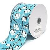 Homeford Cotton Boll Stems Linen Ribbon, 10 Yards (Aqua, 2-1/2-Inch)